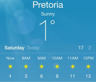 Pretoria Climate - winter temperatures