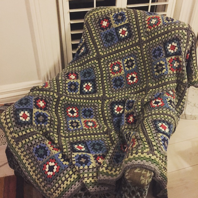 crochet-granny-square-blanket-grey-green-accent-colours